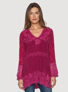 Amilia V-Neck Tunic Berry $237 Johnny Was (berry is not available)