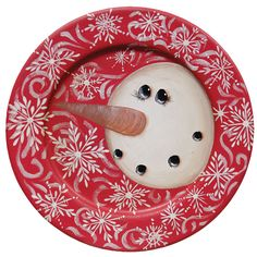 KP Creek Gifts - Red Swirl Snowman Plate