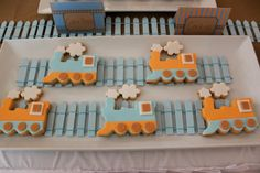 Train cookies on Vintage Train party by Sweet Affairs Event Design on Little Big… Toddler Party Favors, 3rd Birthday, Birthday Parties, Birthday Ideas, Train Party Decorations, Airplane Baby Shower, Cute Cookies, Baby Cookies, Sugar Cookies