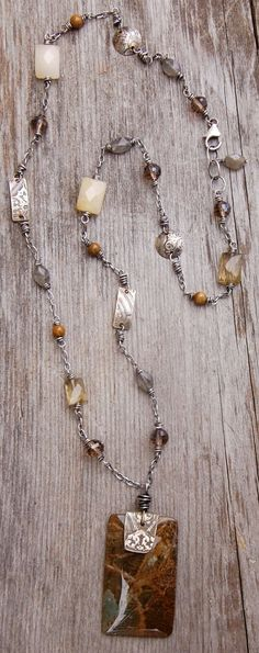 necklace with jasper pendant, labradorite, honey jade, citrine, etched silver nickel and sterling silver
