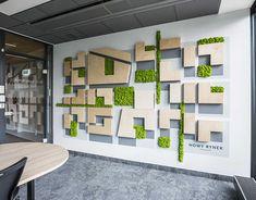 Skanska Spark on Behance Interior Design And Graphic Design, Wall Design, House Design, Environmental Graphic Design, Environmental Graphics, Entrance Signage, Office Graphics, Moss Decor, Light Wall Art