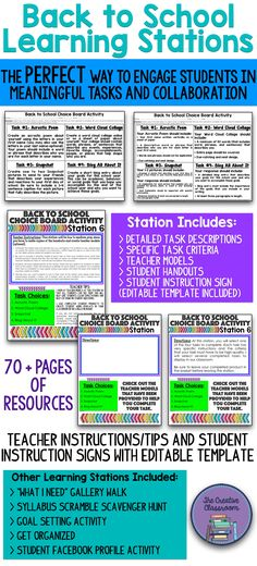 Are you looking for the perfect Back to School activity that will engage your students in meaningful tasks and collaboration on the FIRST day of school? The Back to School Learning Stations product, which contains over 70 pages of resources, is just what you are looking for! These learning stations will make even the most tedious and boring first day tasks into something that will capture students' attention and get them excited about your class.