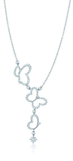 Maison Birks Butterfly diamond necklace in white gold