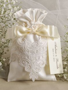 Ivory Satin Wedding Favor Bag Lace Wedding Favor by DecorisWedding, $3.30