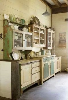 Add old cabinets to other side of kitchen for extra storage.