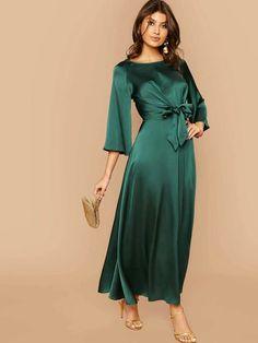 Modest Dresses, Satin Dresses, Simple Dresses, Dresses With Sleeves, Sleeve Dresses, Hijab Evening Dress, Evening Dresses, Summer Dresses, Green Satin Dress