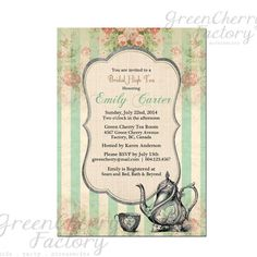 Tea Party Invitation - Bridal Baby Shower Birthday Tea Party Invites Mint Green Summer High Tea Spring Floral- No.42. $15.00, via Etsy.