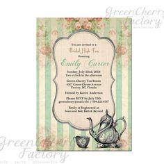 Tea Party Invitation - Bridal Baby Shower Birthday Tea Party Invites Mint Green Summer High Tea Spring Floral- No.42. $15.00, via Etsy.
