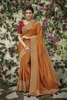kajal aggarwal deep mustard colour 1206KM Indian Bridal Lehenga, Indian Beauty Saree, Bridal Sarees, Indian Sarees, Indian Dresses, Indian Outfits, Crepe Silk Sarees, Georgette Sarees, Designer Silk Sarees
