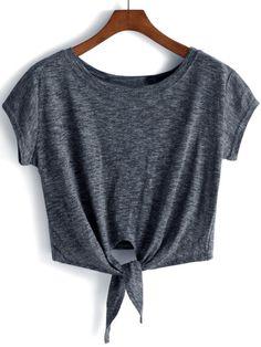 Camiseta crop -gris oscuro