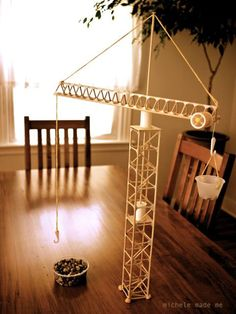 Tower crane from the book Make It Work! Building - Great idea to teach some simple physics to kids!