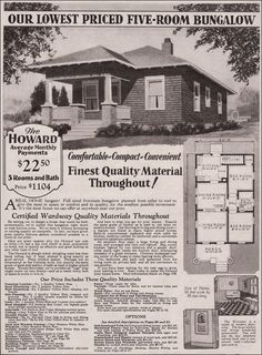 1930 Montgomery Ward - Howard ~ In 600 square feet, the Howard offered two bedrooms and a bath in 1930 for the budget cost of $1104. The rooms are tiny with the living room just over 10 feet square. That was mitigated somewhat by the line of sight of about 20 feet from the far wall of the dining room to living room. It was probably an ideal first home for many a young couple. For an upgraded version of the same plan, MW offered the Lawndale.