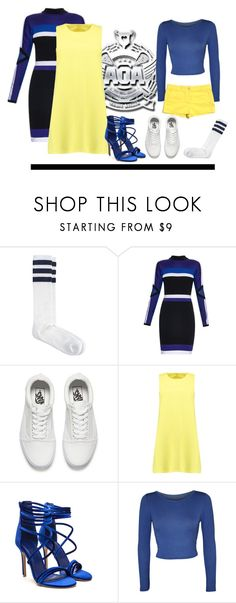 """""""Heart Attack"""" by my-style-xo ❤ liked on Polyvore featuring American Apparel, Versace, Vans, Boohoo, WearAll, LOFT, kpop, musicvideo, yellowstyle and aoa"""