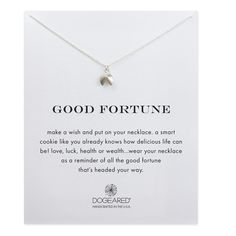 good fortune, fortune cookie necklace, sterling silver