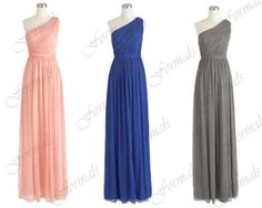 One Shoulder Floor Length Long Chiffon Prom Dresses by Formals, $129.00
