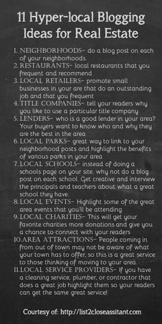 11 ideas to help you jump start your hyper-local real estate blog.