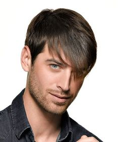 A Short Brown Straight Long Fringe Mens Hairstyle By Saint Algue Hair