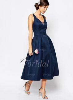 91a2394783 A-Line Princess V-neck Tea-Length Ruffle Satin Zipper Up Covered. Wedding  Reception OutfitSummer Wedding GuestsWedding AttireNavy Cocktail ...