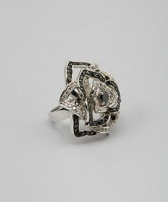 Another great find on #zulily! Black & Sparkle Rose Cocktail Ring #zulilyfinds