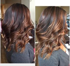 September 2015 hairstyle: medium length lob with layers, tortoise shell highlights