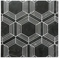 Perfect water-jet cut Hexagon mosaic with Nero Marquina. Choose your choice of grout to completely change the look. Here we show two sample boards of the same product one with Black and one with White grout. Almost creating two different products.