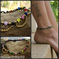 Glass Rainbow & Brass Bead Ankle Bracelet Anklet Macrame Gypsy Hippie Boho Surf