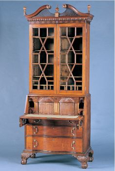 """John Shearer (Active 1800-1816) - Desk & Bookcase. Walnut, Cherry, and Mulberry with Yellow Pine and Oak. Martinsburg, Virginia (now West Virginia). Desk Circa 1801 & Bookcase Circa 1806. 106-1/8"""" x 45"""" x 21-1/4""""."""