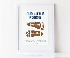 Sports Nursery Footprint Football Art Print, Baby Boy Nursery, Boys Wall Art 5x7, 8x10, 11x14 Personalized Baby Footprint Art, Kids Wall Art