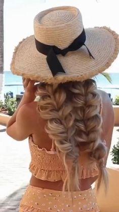 Curly Hair Tips, Braids For Long Hair, Pretty Hairstyles, Braided Hairstyles, Hair Up Styles, Aesthetic Hair, Love Hair, Hair Videos, Coiffure Chignon