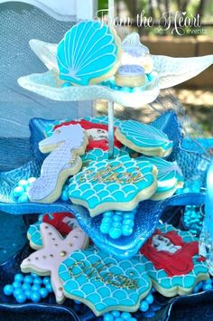 Under the sea mermaid cookies from a Vintage Glamorous Little Mermaid Birthday Party on Kara's Party Ideas | KarasPartyIdeas.com (7)
