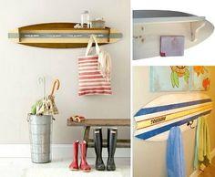 DIY Surfboard Wall Racks: http://www.completely-coastal.com/2015/09/diy-coastal-coat-wall-rack.html