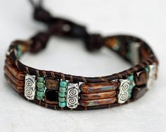 Rustic Ceramic Tile & Silver Leather Bracelet by EntwyneDesigns