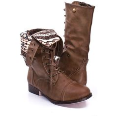 Taupe faux leather lace up fold over combat boots ($27) ❤ liked on Polyvore featuring shoes, boots, ankle booties, taupe, leather lace up booties, combat booties, fold-over boots, fold over booties and low booties