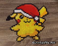 Pokemon - Pikachu with Santa Claus Hat Perler Beads Sprite