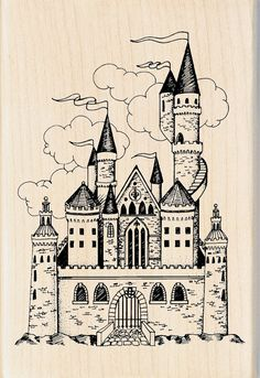 Inkadinkado Castle Wood Stamp Disney Castle Drawing, Castle Sketch, Willian Smith, Drawing Sketches, Art Drawings, Castle Tattoo, Alien Art, Wood Stamp, Hedwig