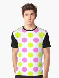 Pink and Yellow Dots - Retro Vintage Design T Shirt.  Who loves an odd design - pink and yellow dots to suit your different taste.  Stand out from the normal with something a little different and totally lovely.  #pokadots #circles #pink #yellow #magenta #retro #vintage #purple #multicolor #giftideas #fashion #homedecor #artsandcrafts #stickers #redbubblestickers #redbubble #art #redbubbleshop #ad @giftsbyminuet Vintage Designs, Retro Vintage, Red Bubble Stickers, My T Shirt, Suits You, Cool T Shirts, Chiffon Tops, Pink Yellow, Magenta