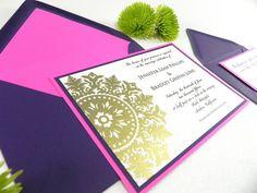 Gold Embossed Medallion Wedding Invitation by WhiteGownInvitations, $4.00