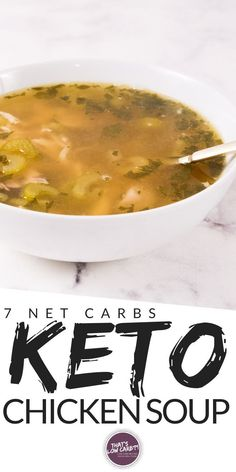 Keto Chicken Soup made in an Instant Pot is a healthy flavorful homemade culinary cure for complicated dinners. Don't settle for canned impostors. Gluten Free Recipes For Lunch, Vegan Keto Recipes, Low Carb Dinner Recipes, Clean Eating Recipes, Healthy Eating, Diabetic Recipes, Paleo, Instant Pot Chicken Soup Recipe, Low Carb Chicken Soup