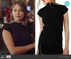 Thea's black mock-neck top on Arrow.  Outfit Details: https://wornontv.net/53625/ #Arrow