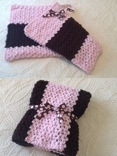 pretty in pink & brown baby blanket