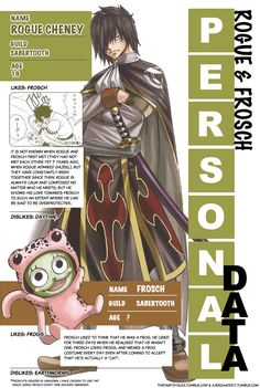 "Rogue & Frosch's personal data from Monthly Fairy Tail Magazine volume 11 ""This issue can be purchased at CDJapan or Amazon Japan. "" What you see is not an exact replica of the original pages, but a..."