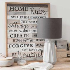 Tableau en bois 50 x 65 cm HOME RULES | Maisons du Monde