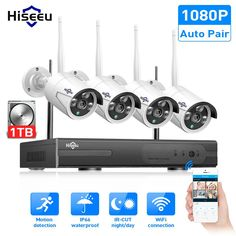 SALE Hiseeu Wireless CCTV camera System IP Camera waterproof outdoor Home Security System video Surveillance Kits Wireless Home Security Systems, Security Camera System, Security Surveillance, Security Alarm, Surveillance System, Security Tips, House Security, Security Products, Video Security