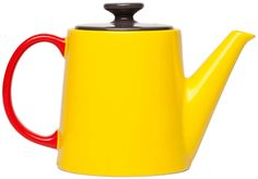 Jansen & Co My Tea Pot - Yellow, Anthracite Top - Trouva Yellow Teapot, Red Teapot, Tea Accessories, Kitchen Accessories, Ceramic Teapots, Chocolate Pots, Mellow Yellow, Bright Yellow, Bright Colours