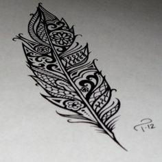 .Aztec feather tattoo idea