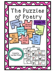 The Puzzles of Poetry for 5-9~ An Excerpt from the Puzzles of Literature~As a special education teacher, I have often been asked to create materials for use in many different classrooms. To do this, takes time, energy, and creativity. I think it is so important to try to use students strongest learning ability.
