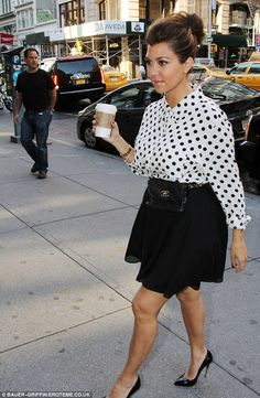 Kourtney Kardashian Looking Fashionable  In Black, Pointed Heels: Black, Flowy Skirt: And A White, Black Polka-Dotted Blouse. Very Stylish, Try It!