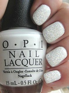 White nail varnish with silver glitter. Nice for winter