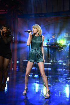 "I need that romper that she wearing !  singing ""welcome to new york"" on david letterman"