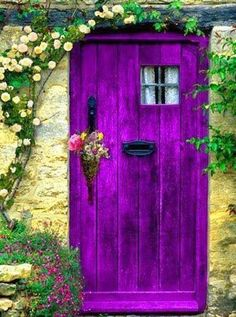 the magic faraway tree: doorway. Purple is the color of royalty I hope I would have the guts to paint the door this color, but probably not. :) house window and doors Curb Appeal Starts at the Front Door Cool Doors, The Doors, Unique Doors, Windows And Doors, The Magic Faraway Tree, Purple Door, Yellow Doors, Aqua Door, Purple Front Doors